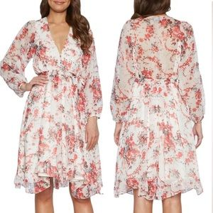 Bardot Alexi Floral Long Sleeve Chiffon Dress